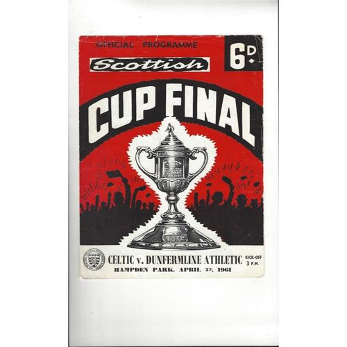 1961 Celtic v Dunfermline Athletic Scottish Cup Final Football Programme