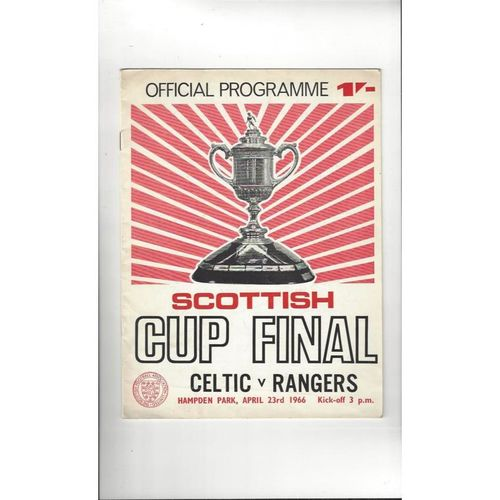 1966 Celtic v Rangers Scottish Cup Final Football Programme