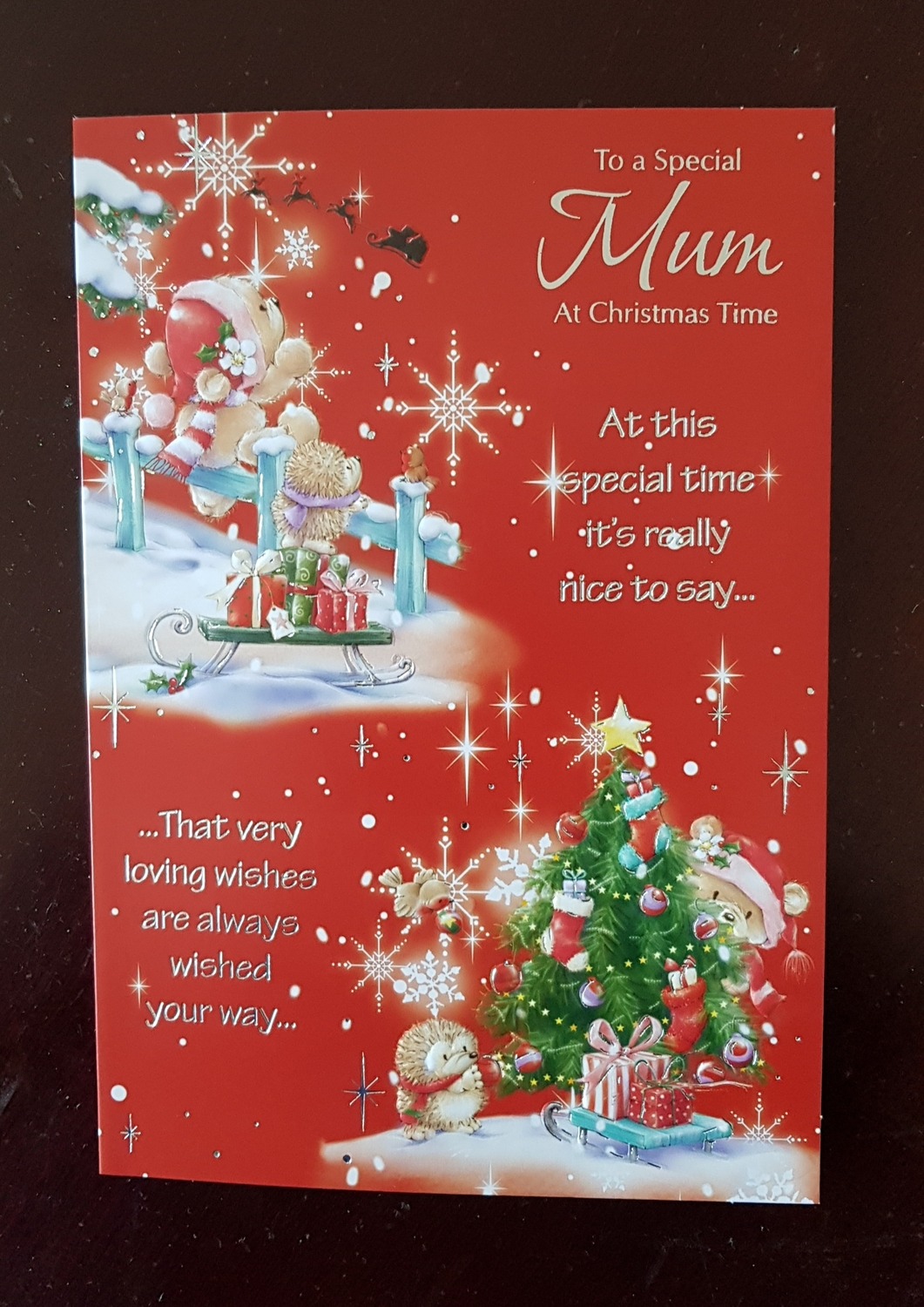 Mum Teddy Presents Christmas Card Remember That Card Greeting