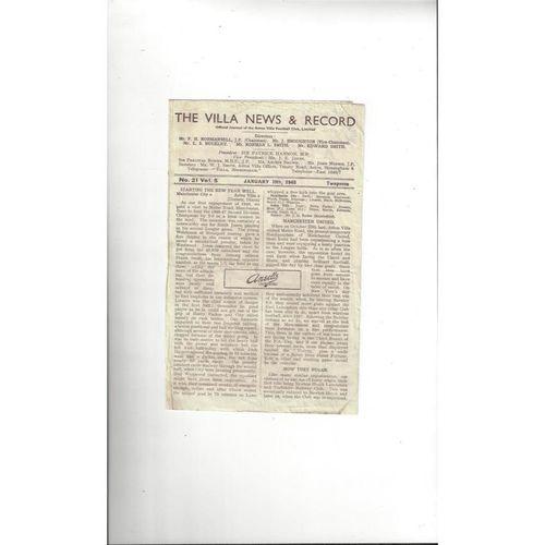1947/48 Aston Villa v Manchester United Football Programme