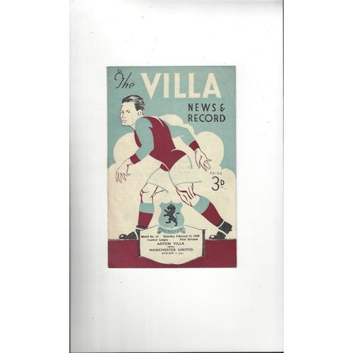 1948/49 Aston Villa v Manchester United Football Programme
