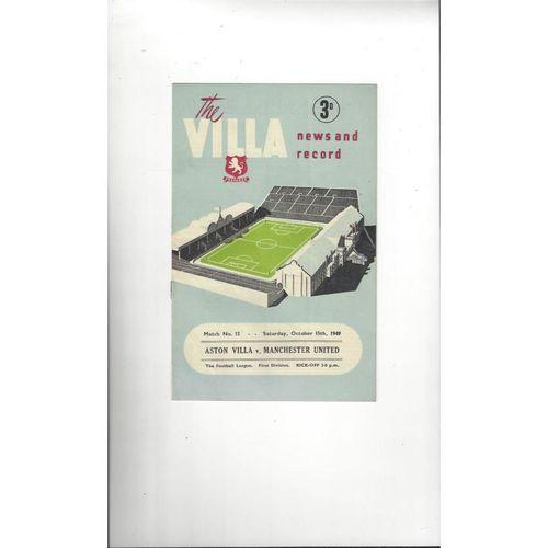 1949/50 Aston Villa v Manchester United Football Programme