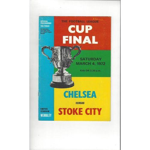 1972 Chelsea v Stoke City League Cup Final Football Programme