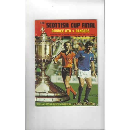 1981 Dundee United v Rangers Scottish Cup Final Football Programme
