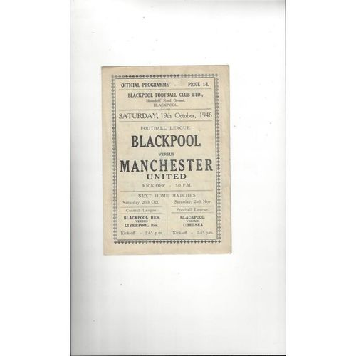 1946/47 Blackpool v Manchester United Football Programme