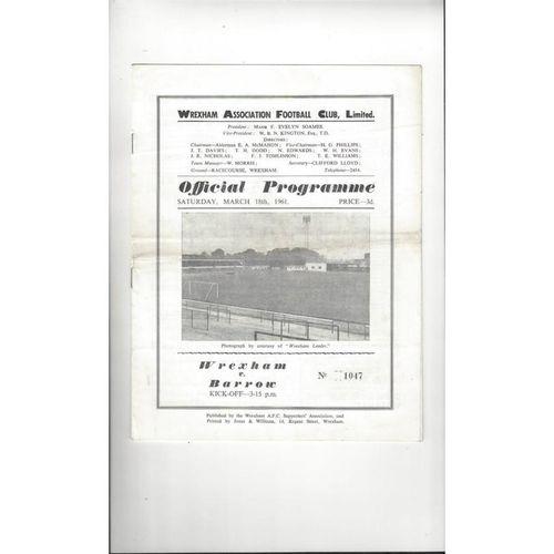 1960/61 Wrexham v Barrow Football Programme