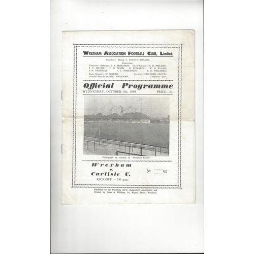 1960/61 Wrexham v Carlisle United Football Programme