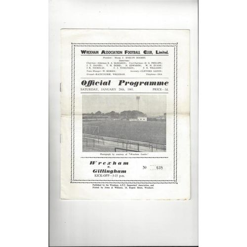 1960/61 Wrexham v Gillingham Football Programme
