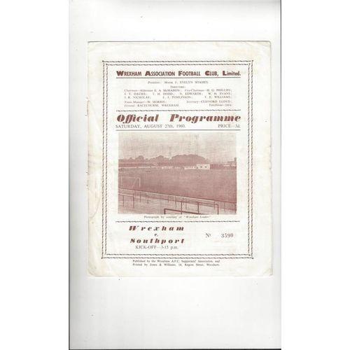 1960/61 Wrexham v Southport Football Programme