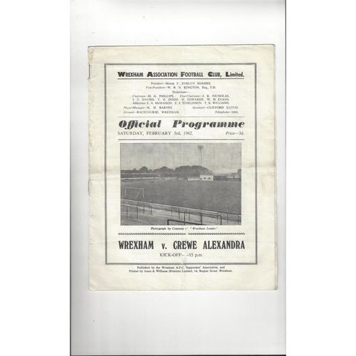 1961/62 Wrexham v Crewe Alexandra Football Programme