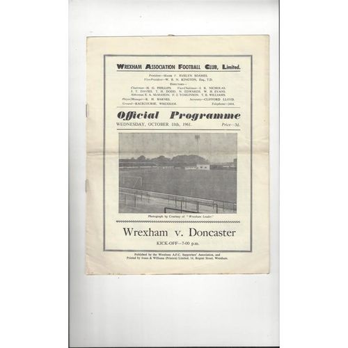 1961/62 Wrexham v Doncaster Rovers Football Programme