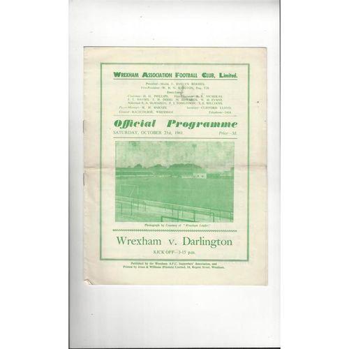 1961/62 Wrexham v Darlington Football Programme