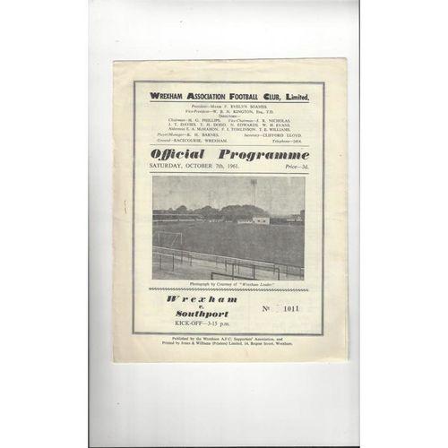 1961/62 Wrexham v Southport Football Programme