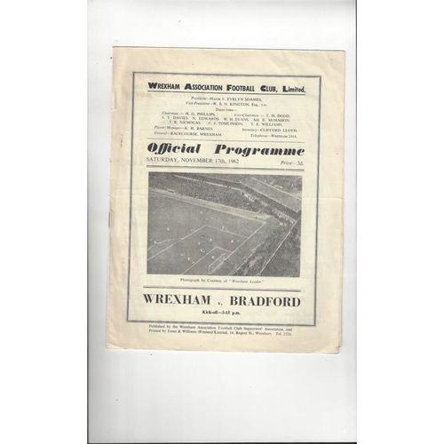 1962/63 Wrexham v Bradford Park Avenue Football Programme
