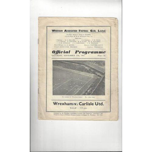 1962/63 Wrexham v Carlisle United Football Programme