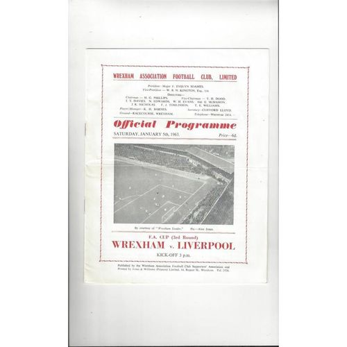 1962/63 Wrexham v Liverpool FA Cup Football Programme