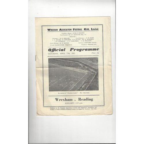 1962/63 Wrexham v Reading Football Programme