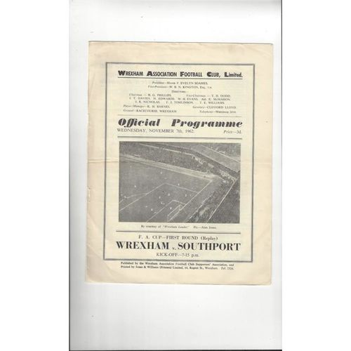 1962/63 Wrexham v Southport FA Cup Replay Football Programme