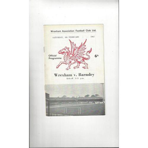 1966/67 Wrexham v Barnsley Football Programme