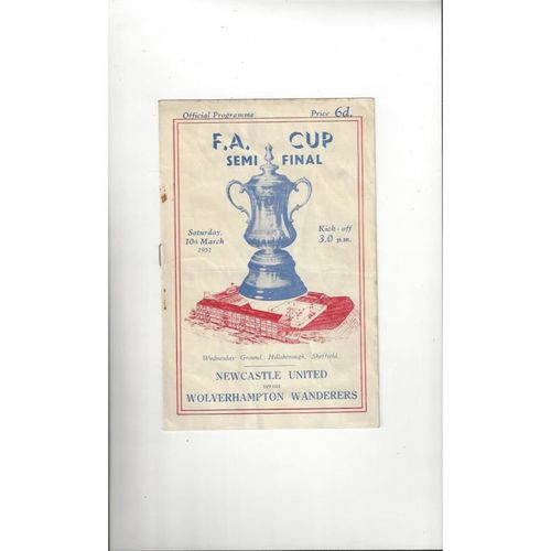 1951 Newcastle United v Wolves FA Cup Semi Final Football Programme