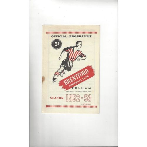 1952/53 Brentford v Fulham Football Programme