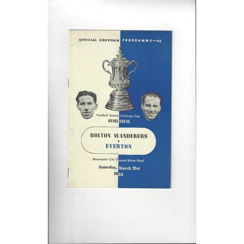 1953 Bolton Wanderers v Everton FA Cup Semi Final Football Programme @ Manchester City