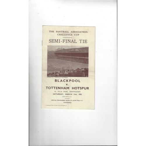 1953 Blackpool v Tottenham Hotspur FA Cup Semi Final Football Programme