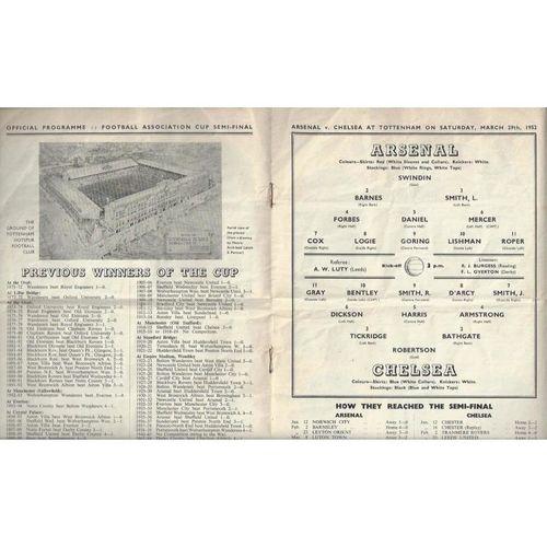 1952 Arsenal v Chelsea FA Cup Semi Final Football Programme