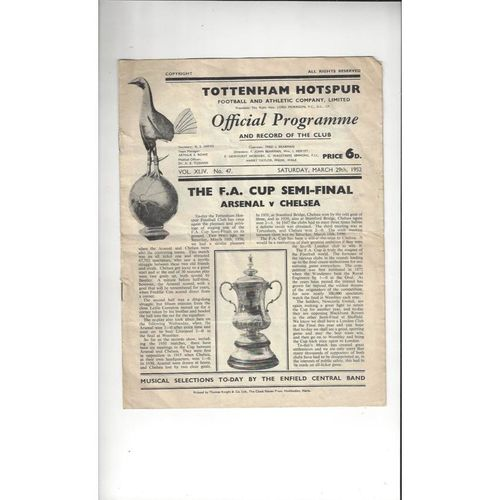 1952 Arsenal v Chelsea FA Cup Semi Final Football Programme