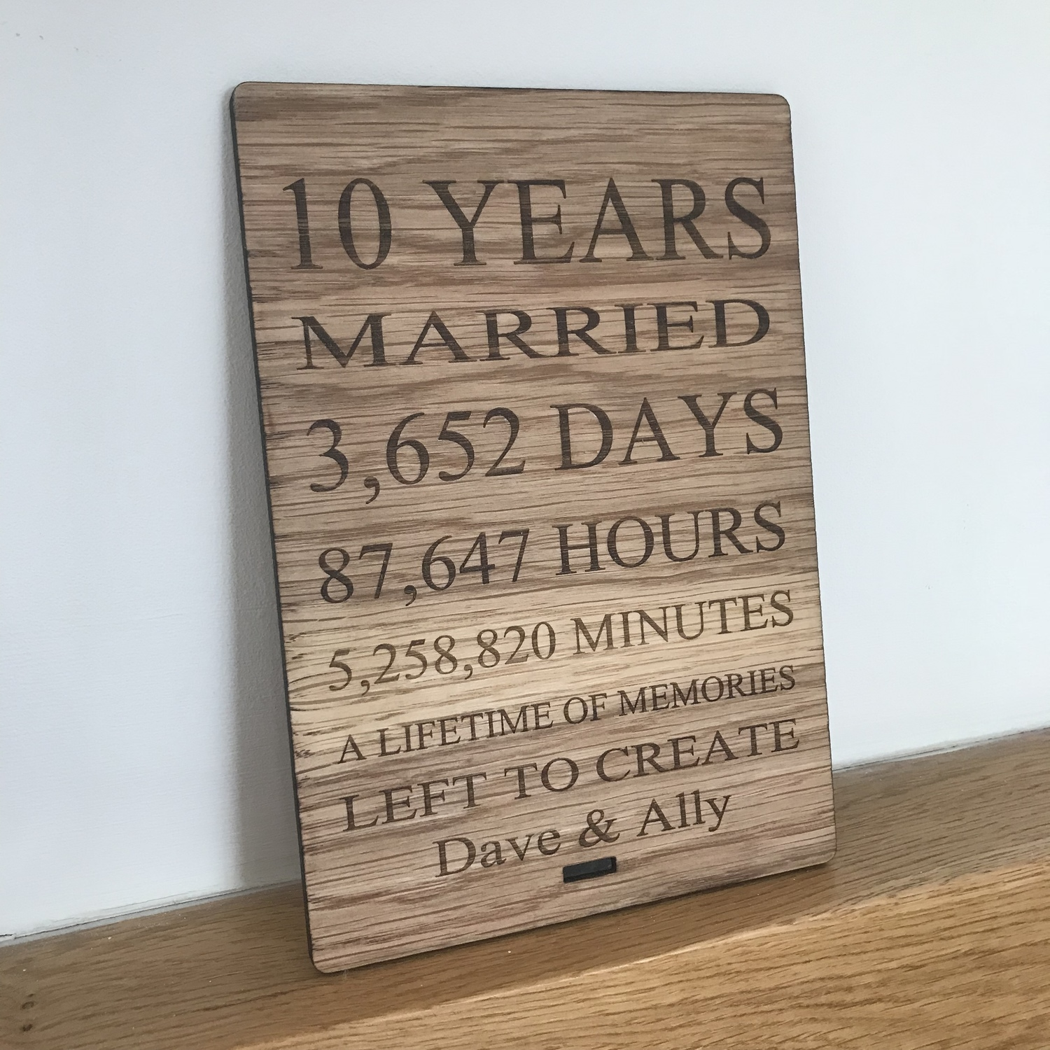 10 Year Anniversary Oak Plaque Crafty Monkey Personalised Golden