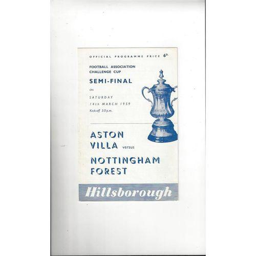 1959 Aston Villa v Nottingham Forest FA Cup Semi Final Football Programme @ Hillsborough