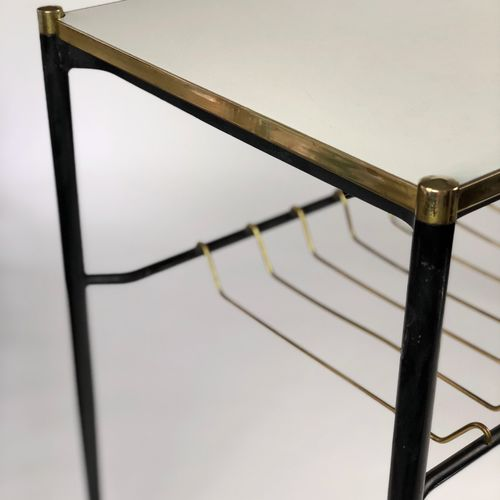 Mid Century Modern brass edged console side table