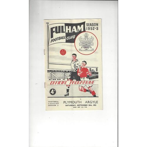1952/53 Fulham v Plymouth Argyle Football Programme