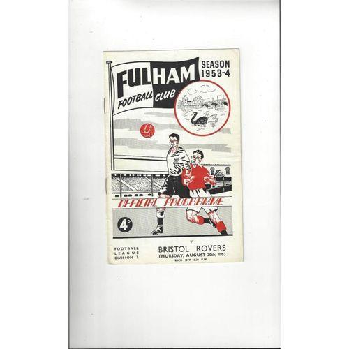 1953/54 Fulham v Bristol Rovers Football Programme