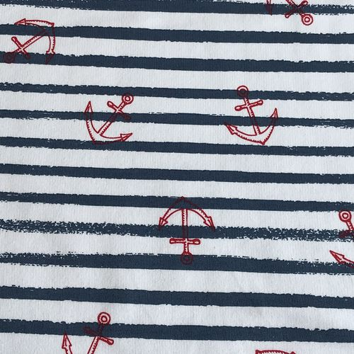 Anchors Away Blue Striped Looped Back Jersey