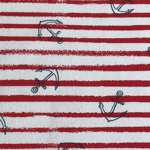 Anchors Away Red Striped French Terry