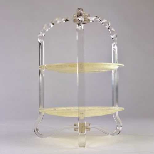 Art Deco barley twist lucite tiered cake stand