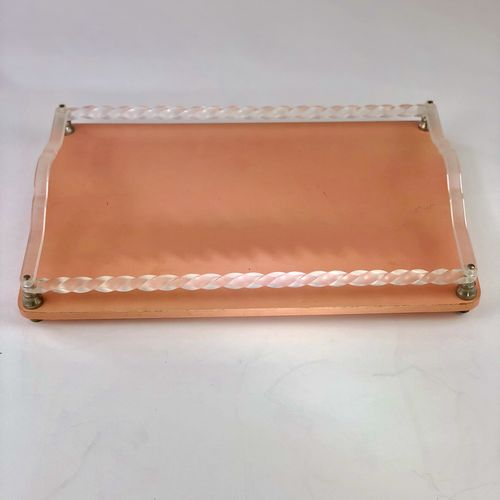 Art Deco painted tray with lucite twisted rim and handles
