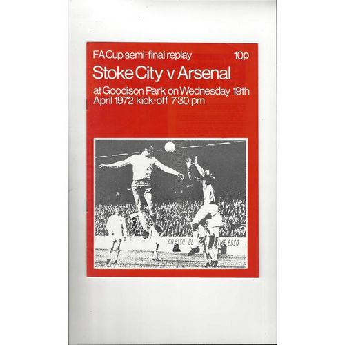 1972 Stoke City v Arsenal FA Cup Semi Final Repay Football Programme @ Everton