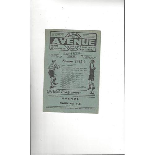1945/46 Walthamstow Avenue v Barking London Senior Cup Football Programme