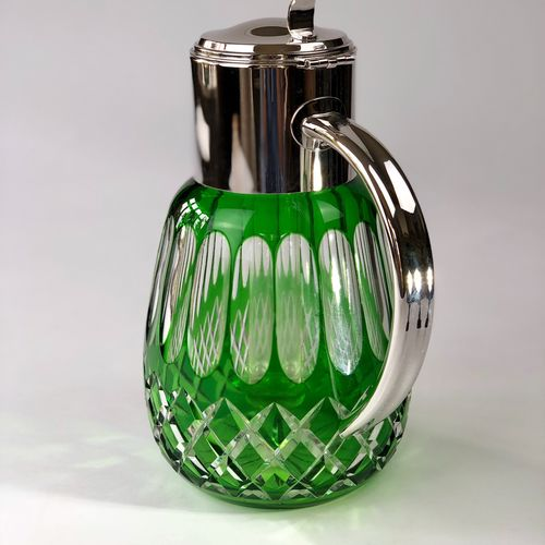 Green overlay glass cocktail lemonade cooling jug