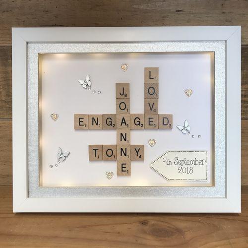 Engagement | Crafty Monkey | Personalised Golden Wedding Led Frame ...