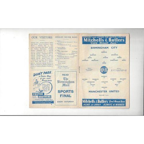 1949/50 Birmingham City v Manchester United Football Programme