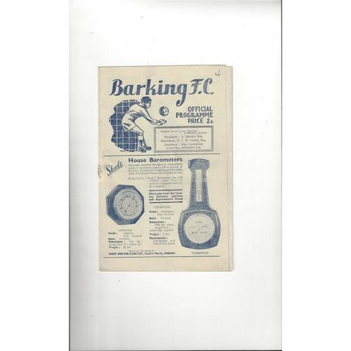 1948/49 Barking v Tooting & Mitcham Football Programme