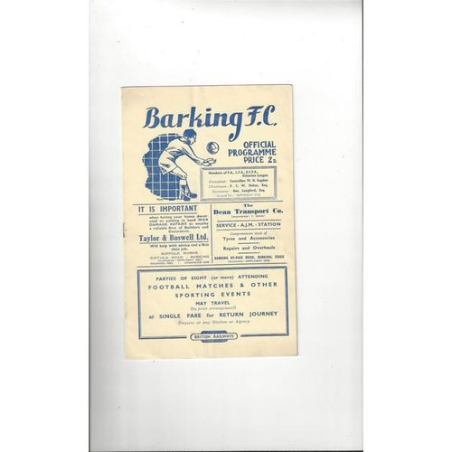 1949/50 Barking v Wealdstone Football Programme