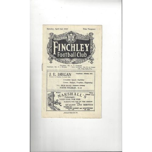 1948/49 Finchley v Barking Football Programme