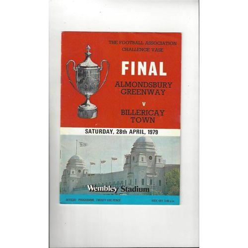 1979 Almondsbury Greenway v Billericay Town FA Vase Final Football Programme