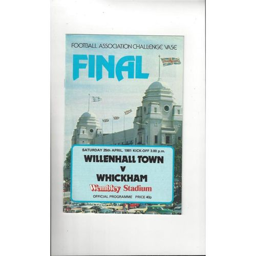 1981 Willenhall Town v Whickham FA Vase Final Football Programme