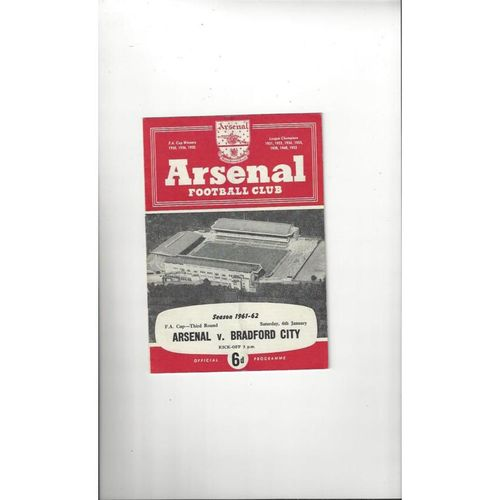 1961/62 Arsenal v Bradford City FA Cup Football Programme