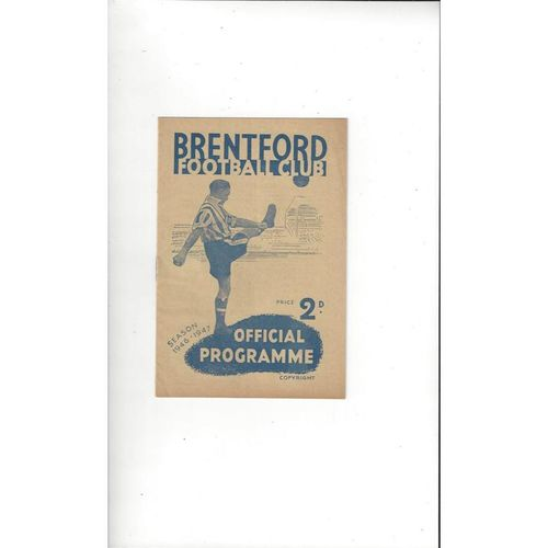 1946/47 Brentford v Manchester United Football Programme